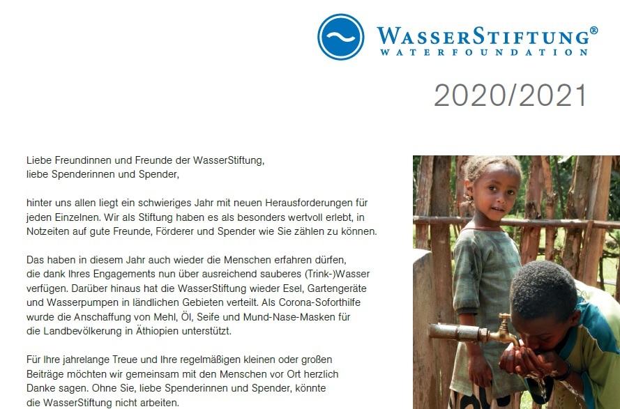 Wasserstiftung Jahresbrief 2020